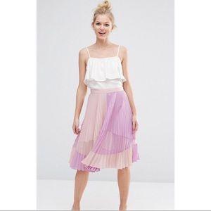 Sz 8 - ASOS Pleated Midi Skirt w/ Sheer Insert